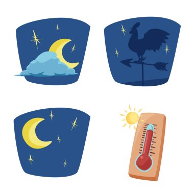 Vector design of weather and climate sign. Set of weather and cloud vector icon for stock. clip art vector