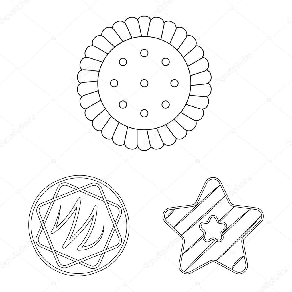 Vector design of biscuit and bake icon. Set of biscuit and chocolate vector icon for stock.