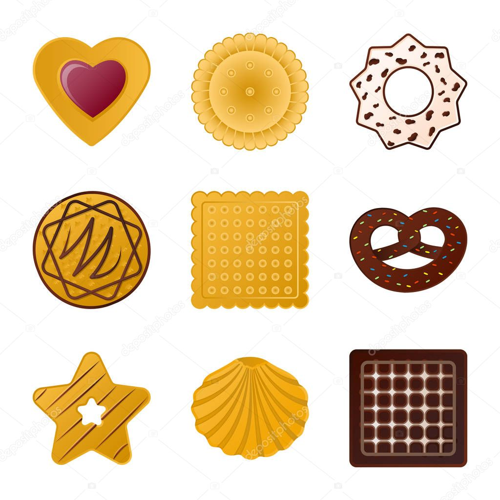Isolated object of biscuit and bake icon. Collection of biscuit and chocolate stock symbol for web.