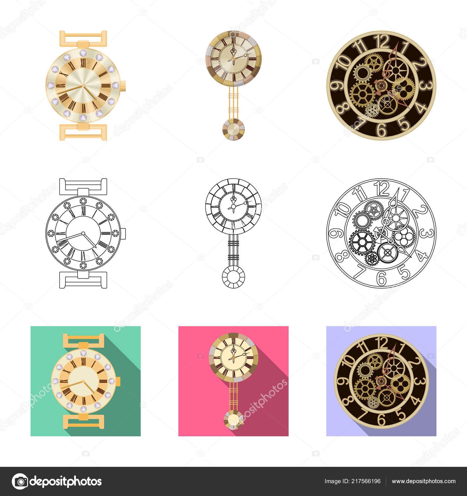4f2de093fa77 Objeto aislado del logo de reloj y tiempo. Colección de reloj y círculo  símbolo para