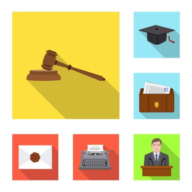 Vector illustration of law and lawyer symbol. Collection of law and justice vector icon for stock.