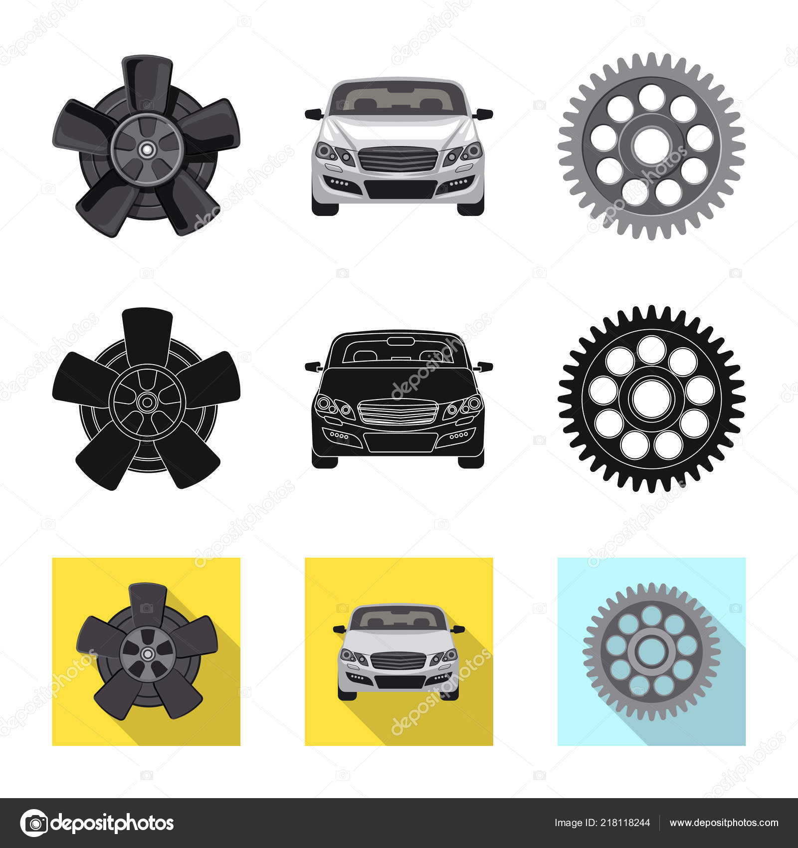 Vector Design Of Auto And Part Icon Collection Of Auto And Car