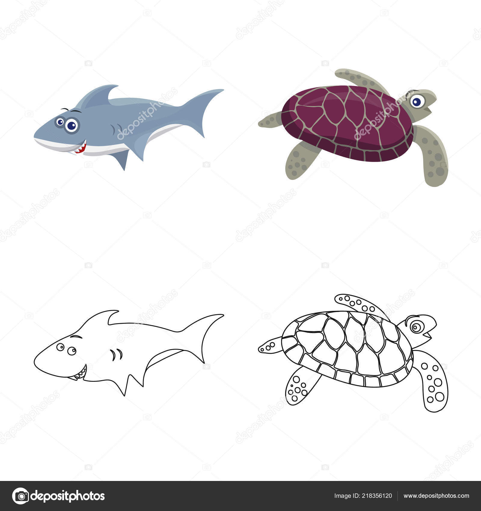Vector Design Of Sea And Animal Sign Set Of Sea And Marine Stock
