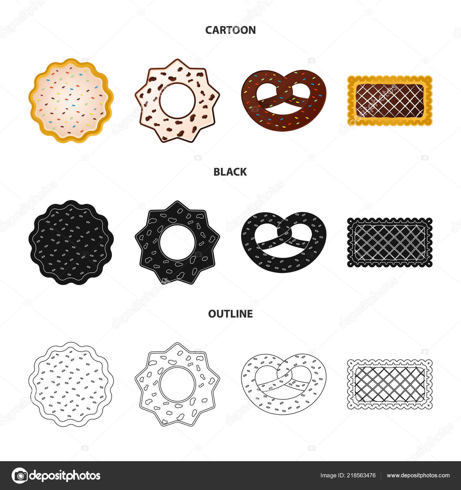 Vector Design Of Biscuit And Bake Symbol Collection Of Biscuit And