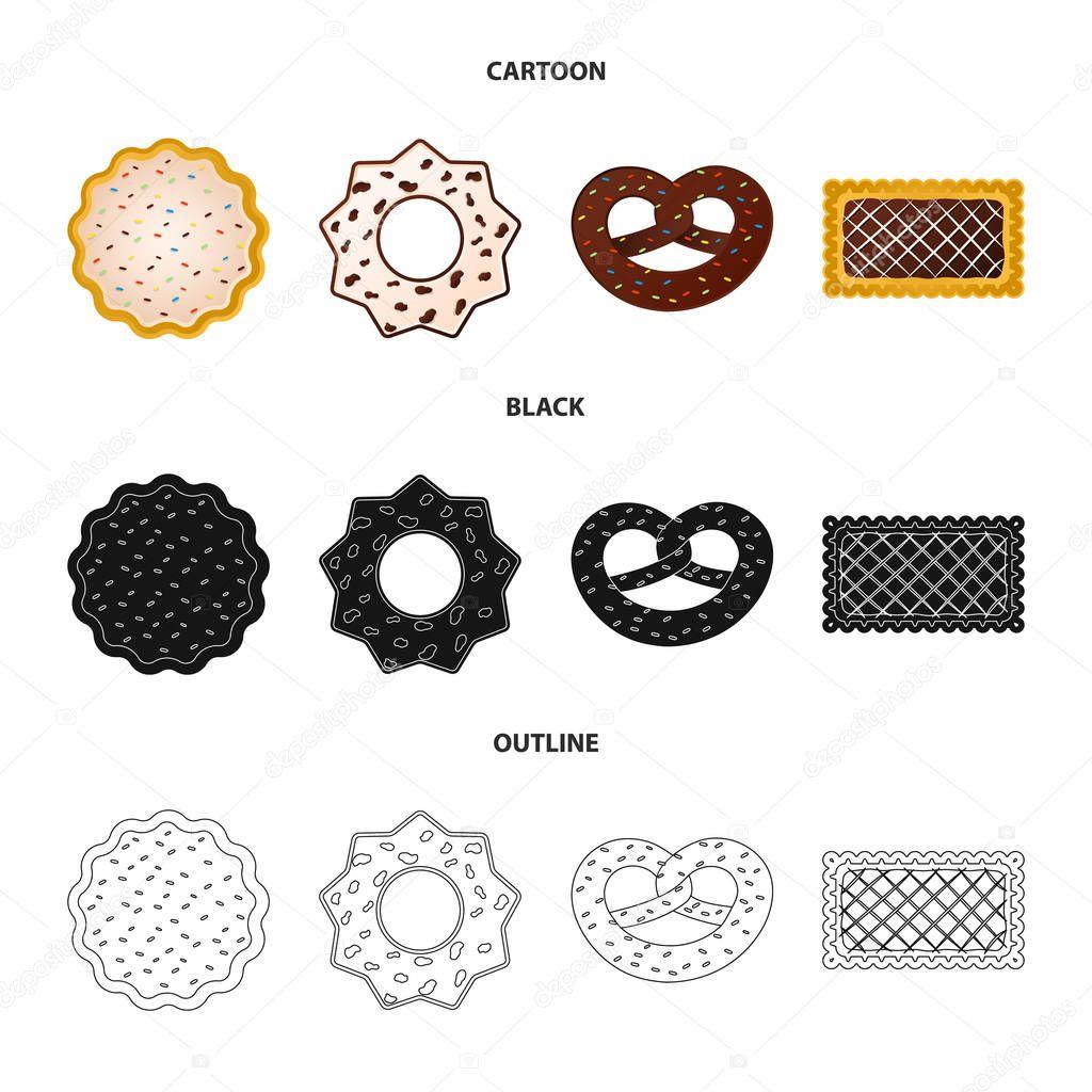 Vector design of biscuit and bake symbol. Collection of biscuit and chocolate stock symbol for web.