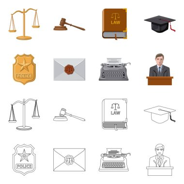 Vector illustration of law and lawyer logo. Set of law and justice vector icon for stock.