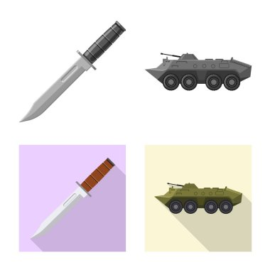 Isolated object of weapon and gun icon. Set of weapon and army stock symbol for web.