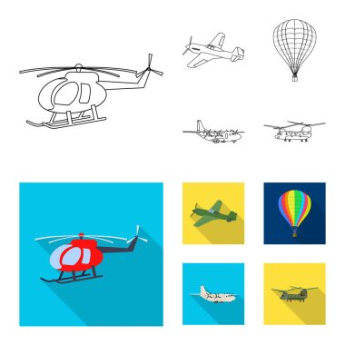 Vector design of plane and transport symbol. Set of plane and sky stock symbol for web.