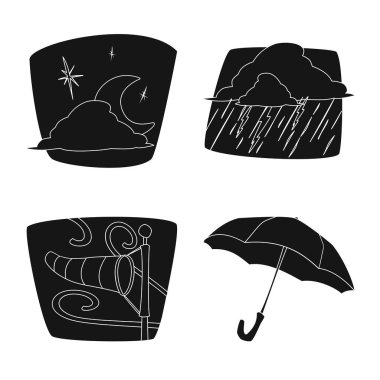 Vector design of weather and climate sign. Collection of weather and cloud stock vector illustration.
