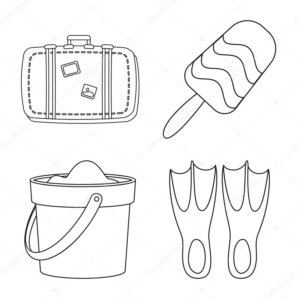 Vector design of equipment and swimming icon. Collection of equipment and activity stock vector illustration.
