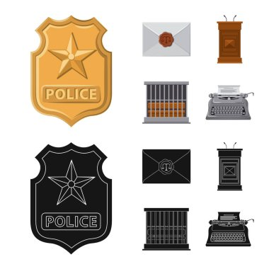 Isolated object of law and lawyer icon. Collection of law and justice stock vector illustration.