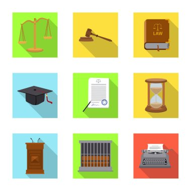Isolated object of law and lawyer icon. Collection of law and justice stock symbol for web.