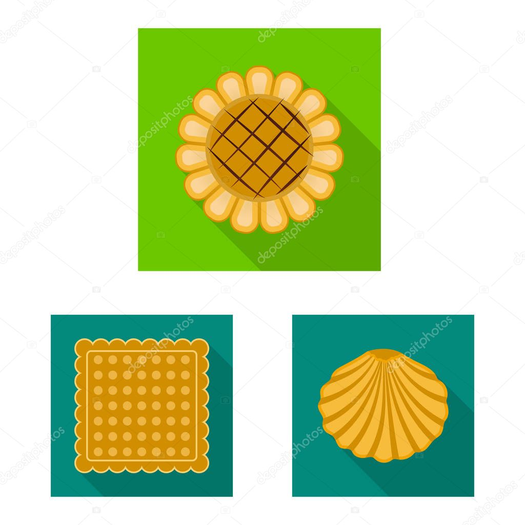 Vector design of biscuit and bake symbol. Set of biscuit and chocolate stock vector illustration.