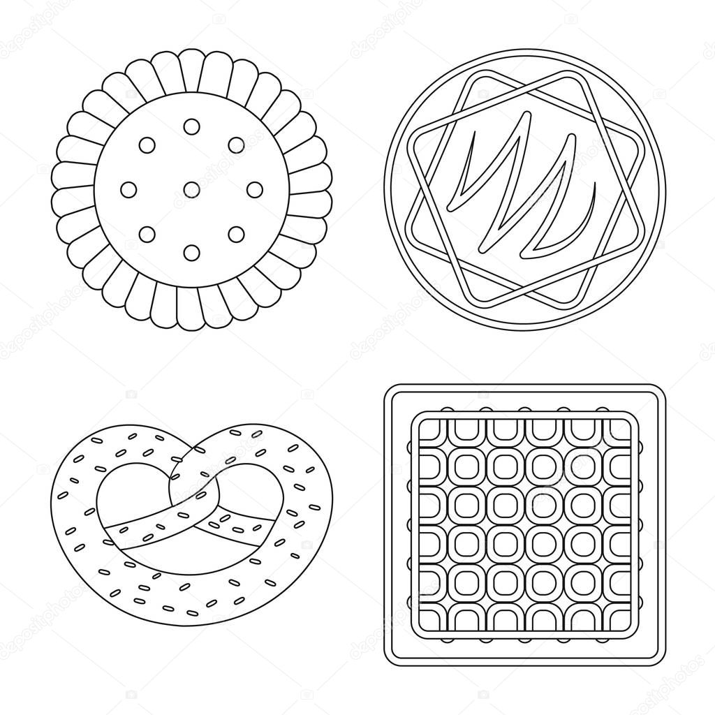 Vector illustration of biscuit and bake sign. Set of biscuit and chocolate vector icon for stock.