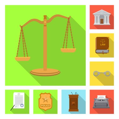 Vector design of law and lawyer symbol. Collection of law and justice vector icon for stock.