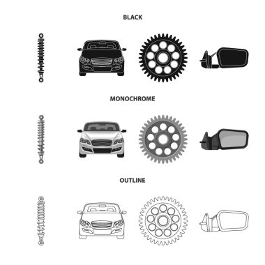 Vector illustration of auto and part logo. Set of auto and car stock symbol for web.