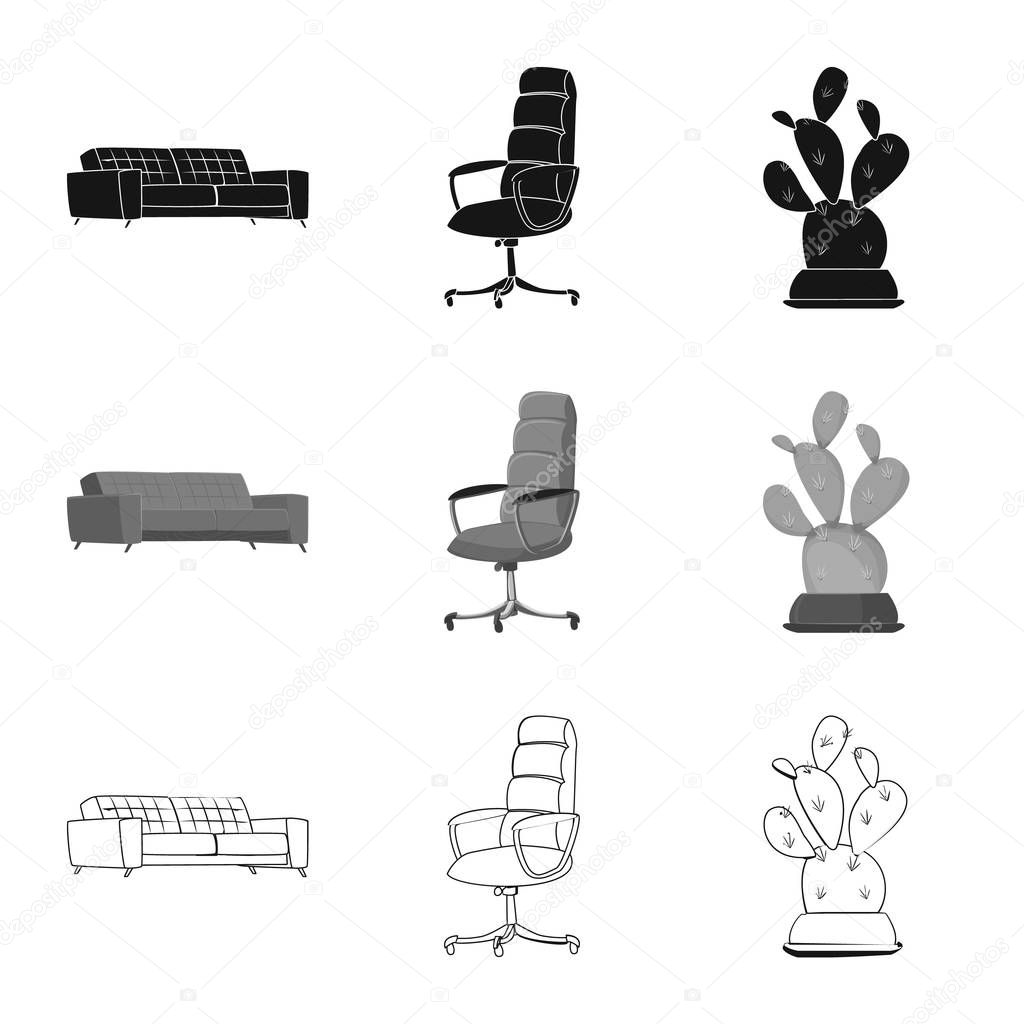Isolated object of furniture and work logo. Set of furniture and home stock vector illustration.