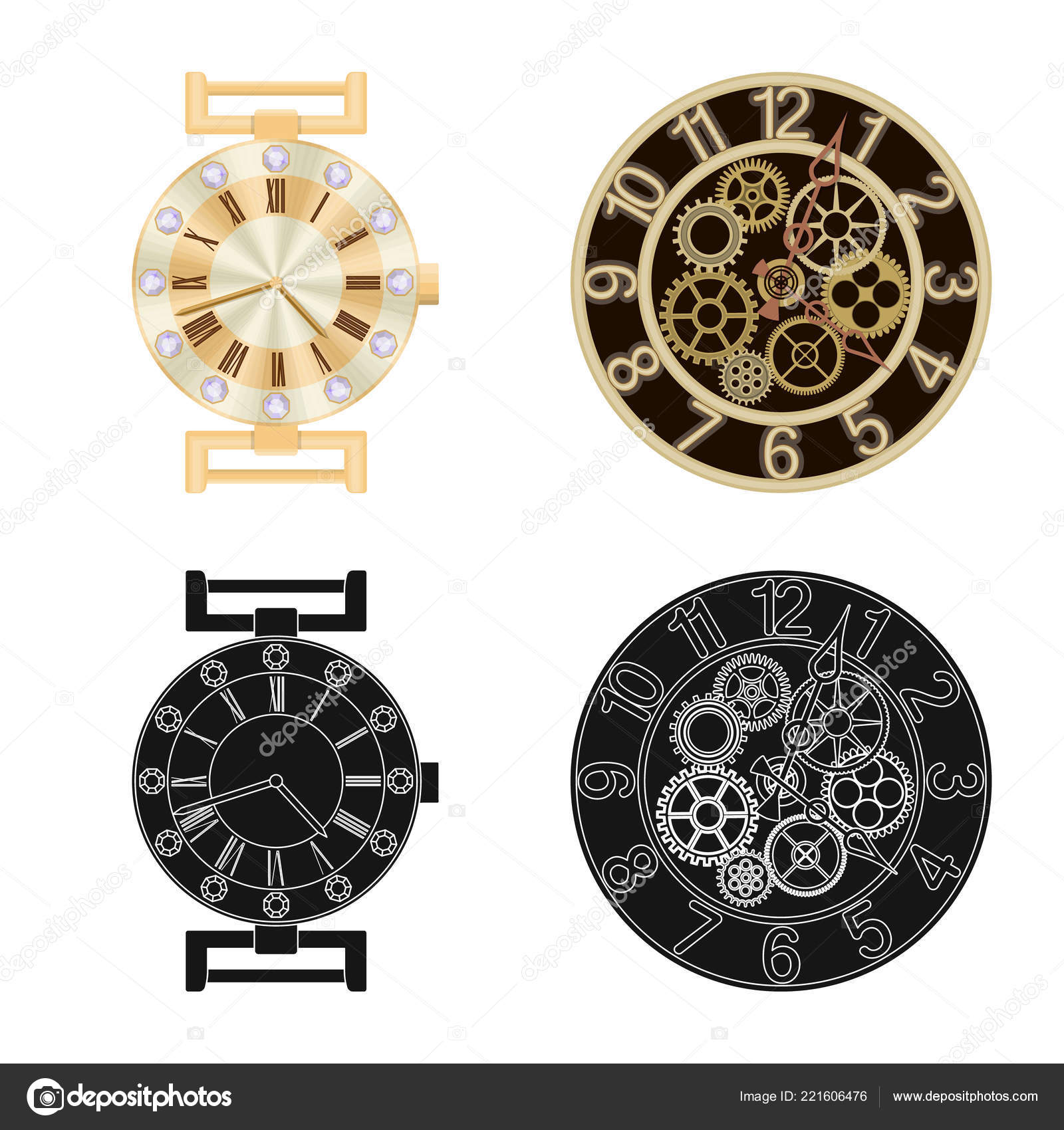 Vector Design Of Clock And Time Logo Collection Of Clock And Circle