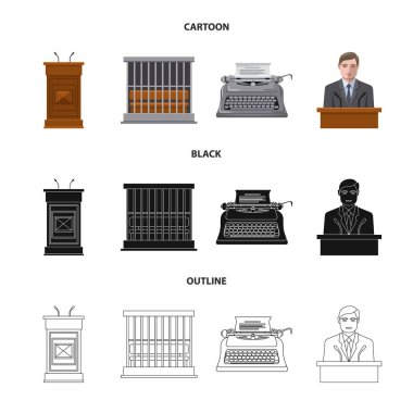 Vector illustration of law and lawyer sign. Set of law and justice vector icon for stock.