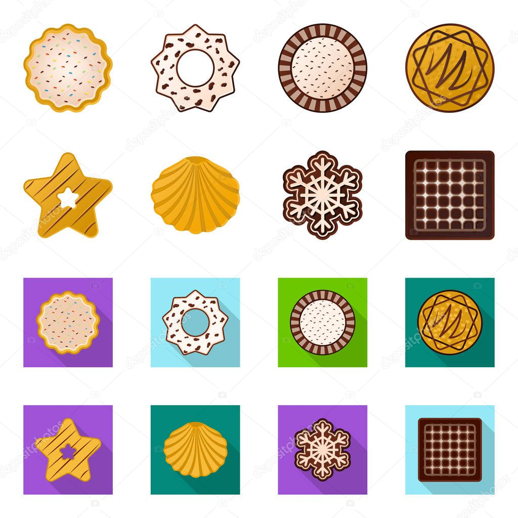 Vector illustration of biscuit and bake symbol. Set of biscuit and chocolate stock symbol for web.