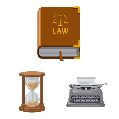 Vector illustration of law and lawyer logo. Set of law and justice stock symbol for web.
