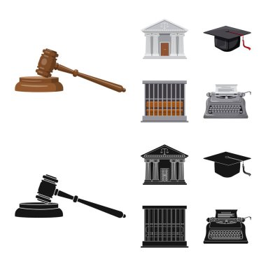 Isolated object of law and lawyer symbol. Set of law and justice stock symbol for web.