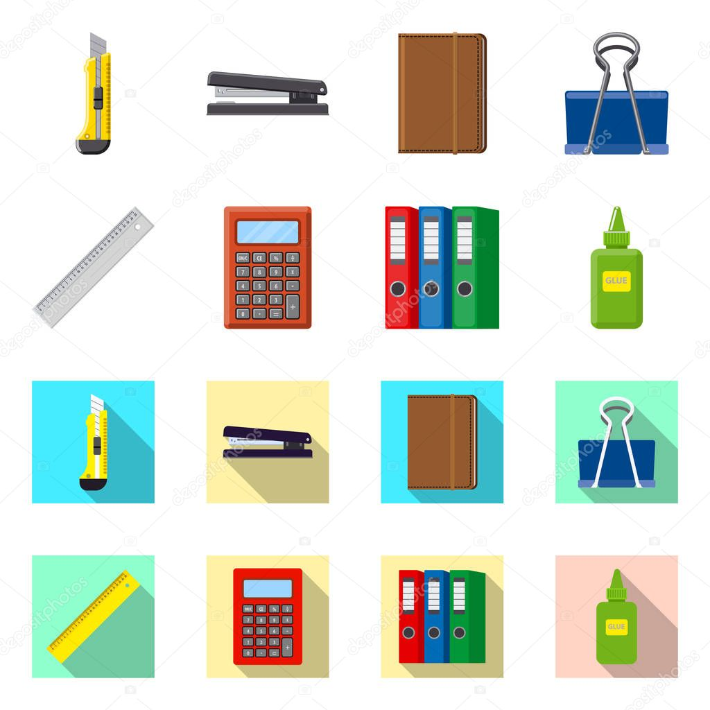 Isolated object of office and supply icon. Set of office and school stock symbol for web.