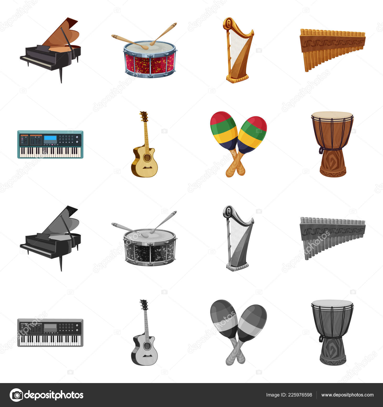 Vector design of music and tune logo  Set of music and tool