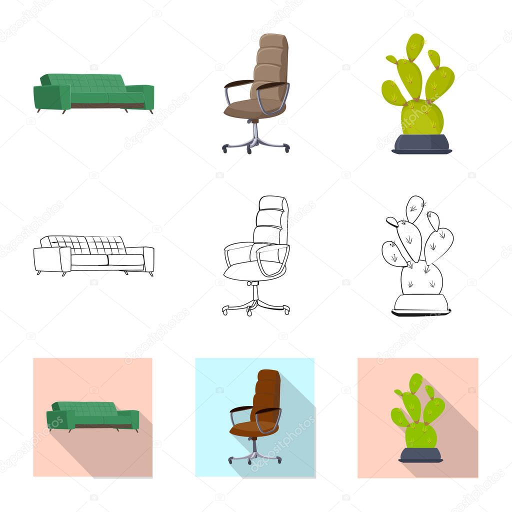 Vector illustration of furniture and work icon. Collection of furniture and home stock symbol for web.