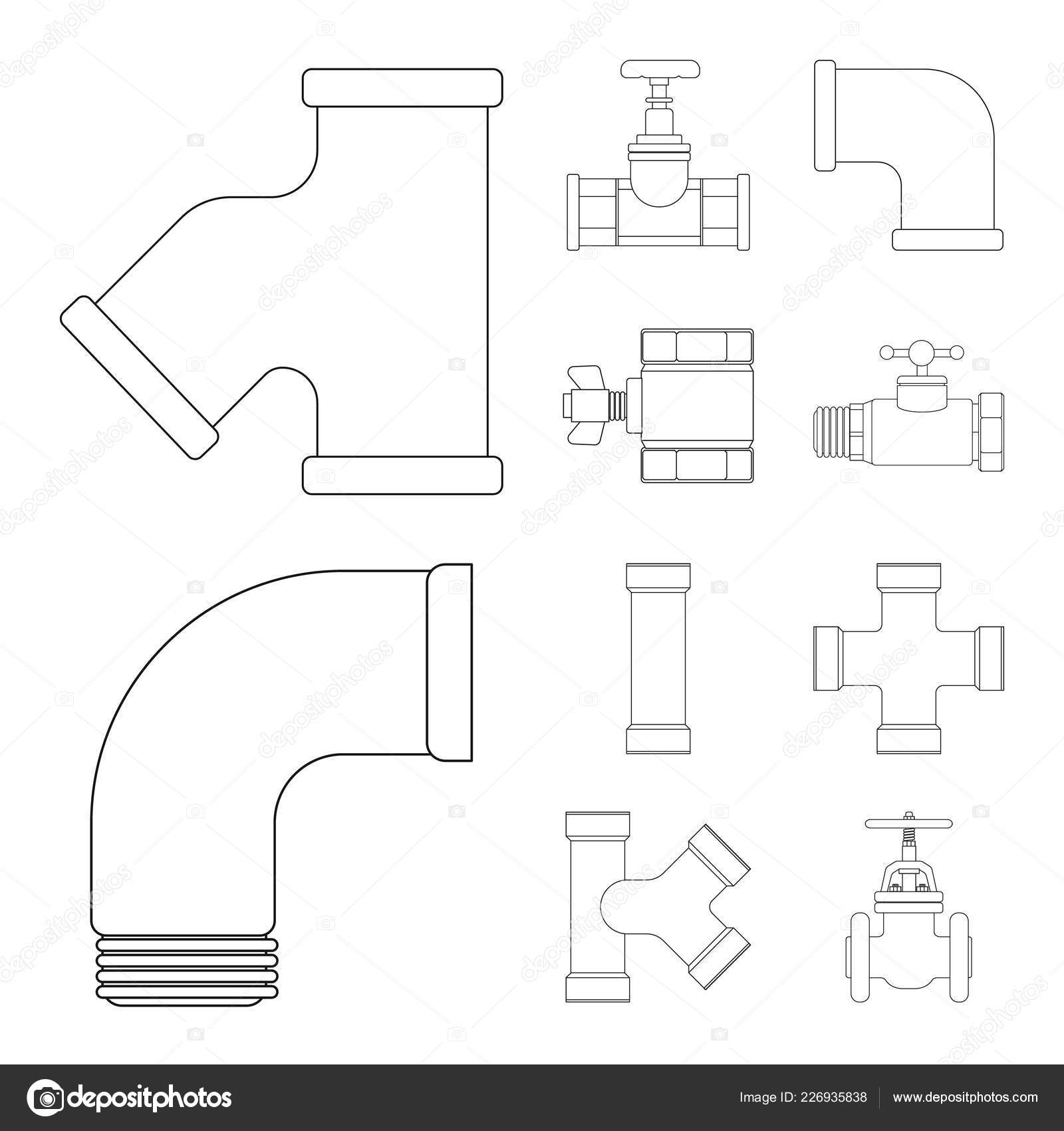Vector Illustration Of Pipe And Tube Symbol Set Piping Diagram Symbols Pipeline Icon For