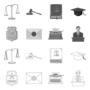 Vector design of law and lawyer icon. Collection of law and justice vector icon for stock.