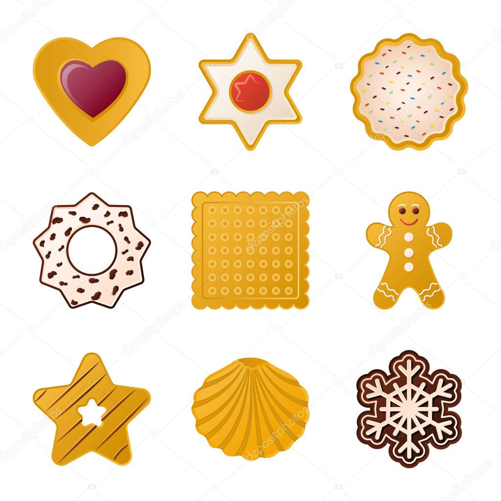 Vector design of biscuit and bake icon. Collection of biscuit and chocolate vector icon for stock.