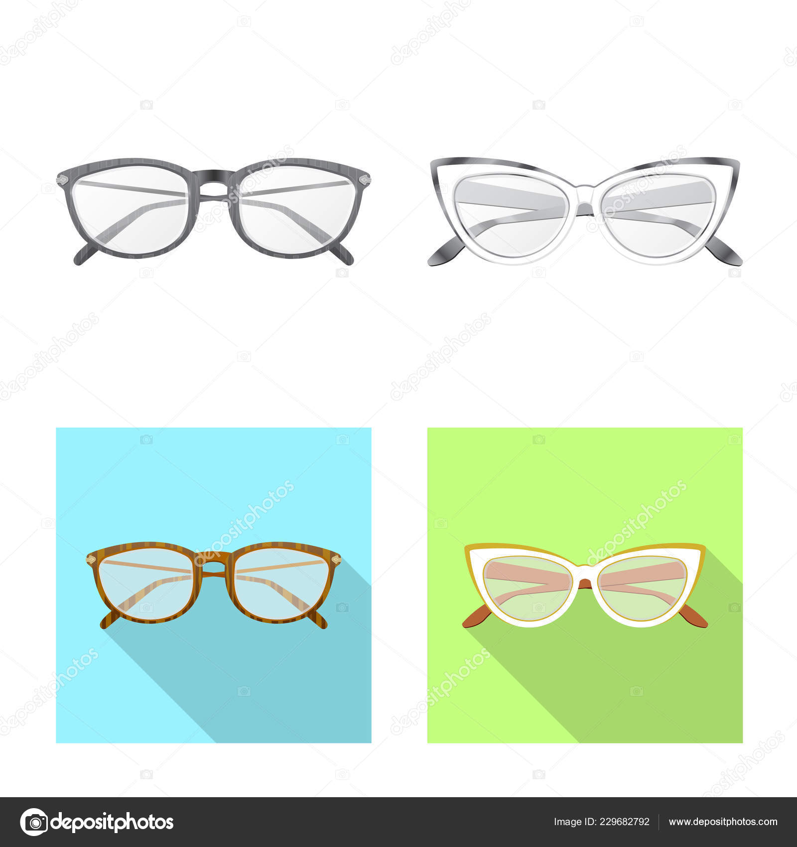 39cc2e8d12a0 Vector Illustration Glasses Frame Icon Collection Glasses Accessory Stock  Symbol — Stock Vector