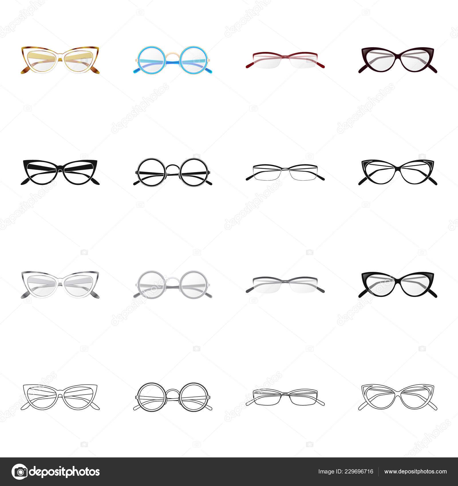 Vector Design Glasses Frame Logo Set Glasses Accessory Stock Symbol ...
