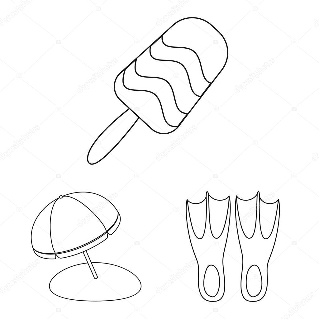 Vector design of equipment and swimming logo. Set of equipment and activity stock symbol for web.