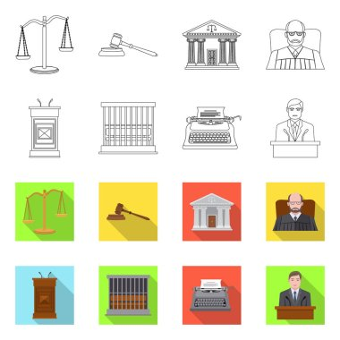 Vector illustration of law and lawyer icon. Collection of law and justice stock symbol for web.