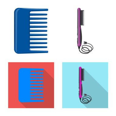 Vector illustration of brush and hair logo. Set of brush and hairbrush stock symbol for web.