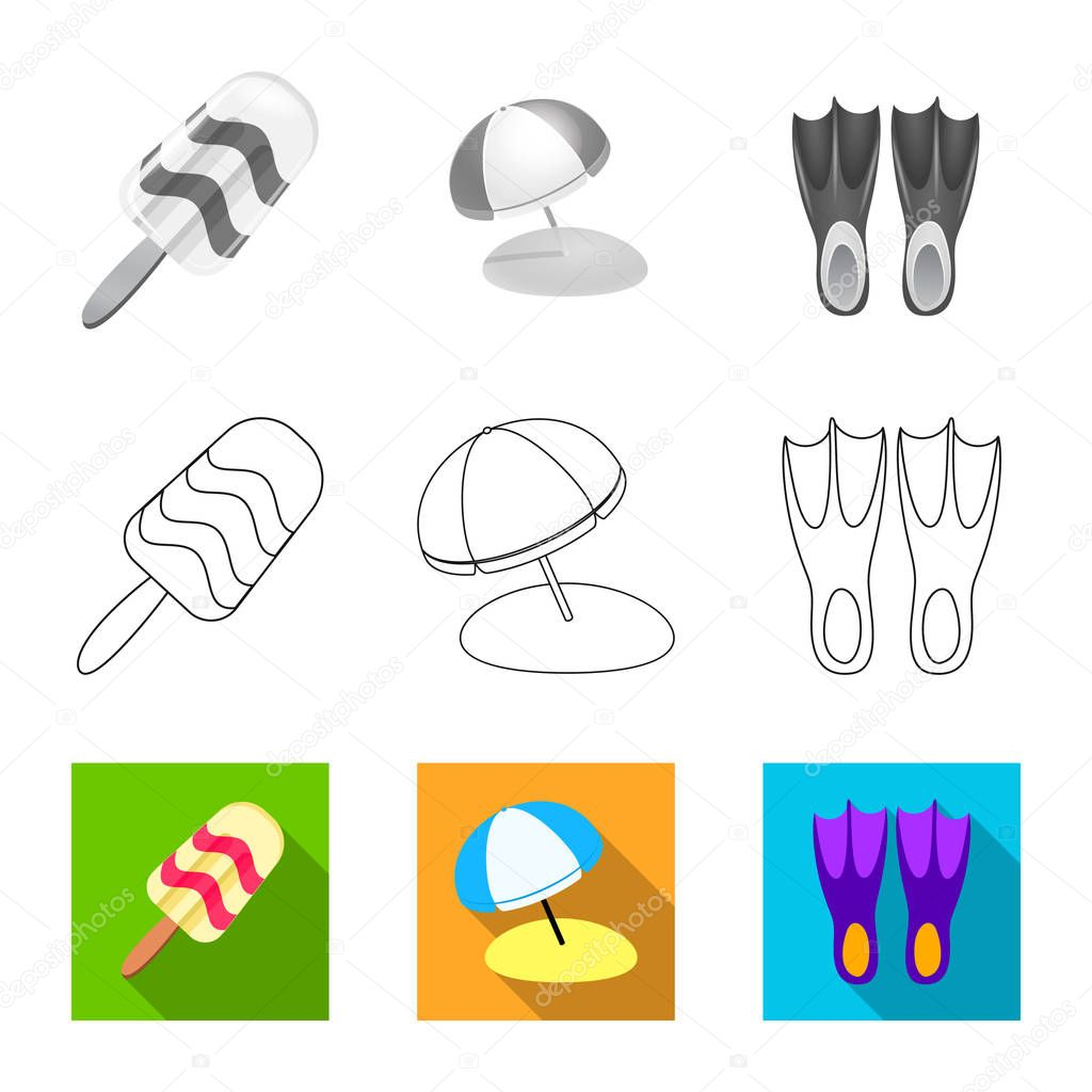 Isolated object of equipment and swimming symbol. Set of equipment and activity stock symbol for web.