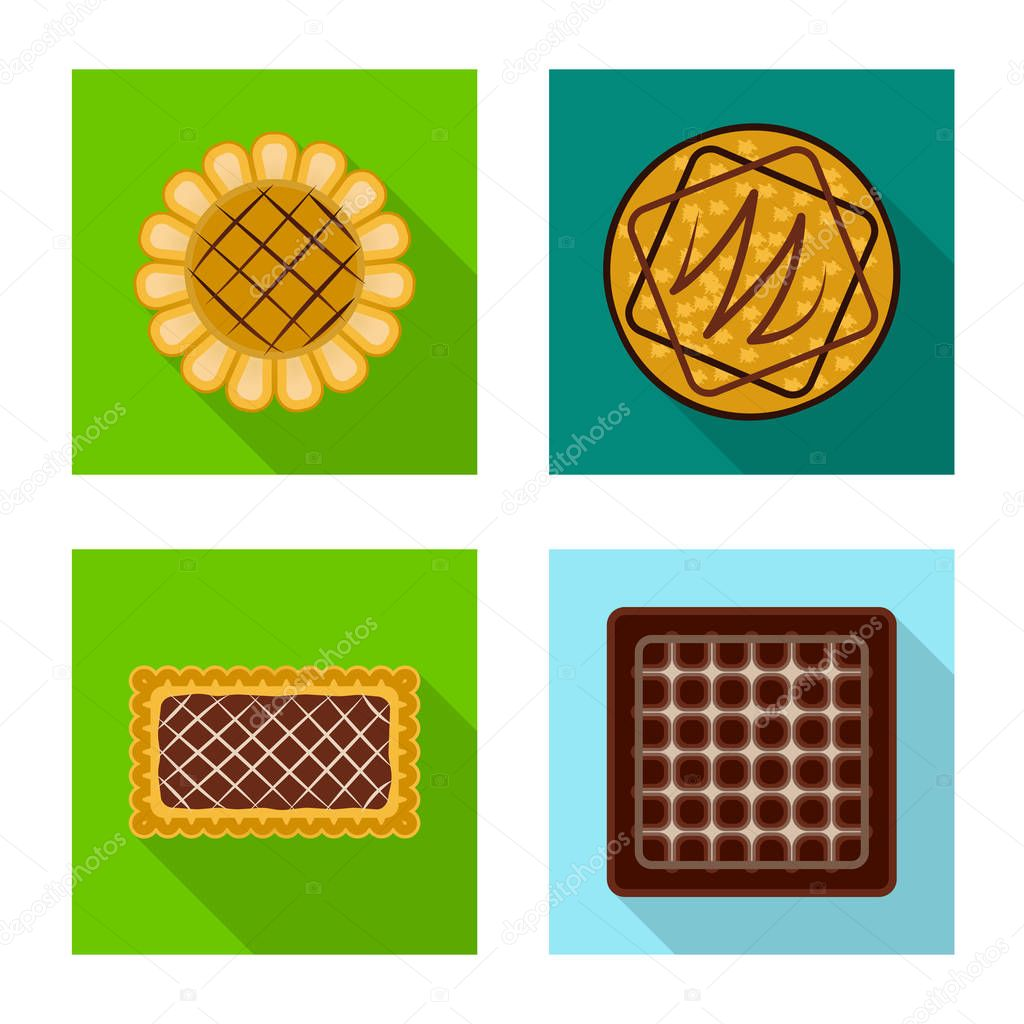 Vector illustration of biscuit and bake logo. Collection of biscuit and chocolate vector icon for stock.