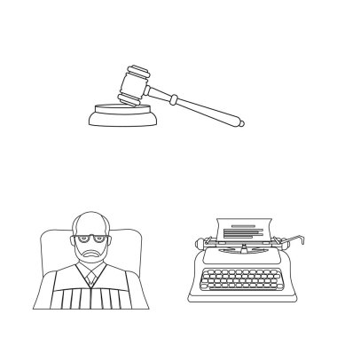 Isolated object of law and lawyer icon. Collection of law and justice vector icon for stock.