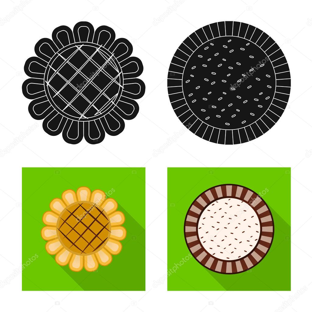 Vector illustration of biscuit and bake icon. Set of biscuit and chocolate stock vector illustration.