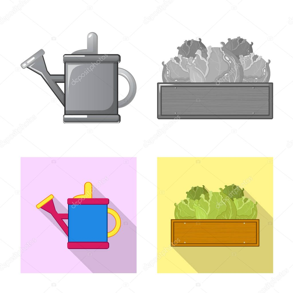 Vector illustration of farm and agriculture logo. Set of farm and plant vector icon for stock.