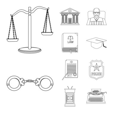 Vector design of law and lawyer symbol. Collection of law and justice stock vector illustration.