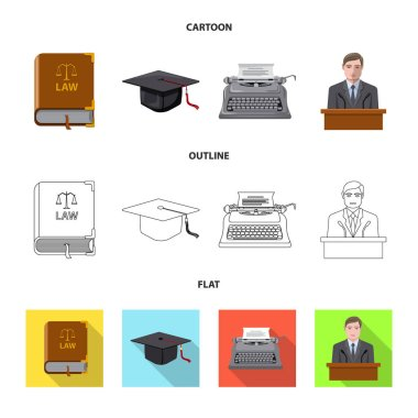 Isolated object of law and lawyer logo. Collection of law and justice vector icon for stock.