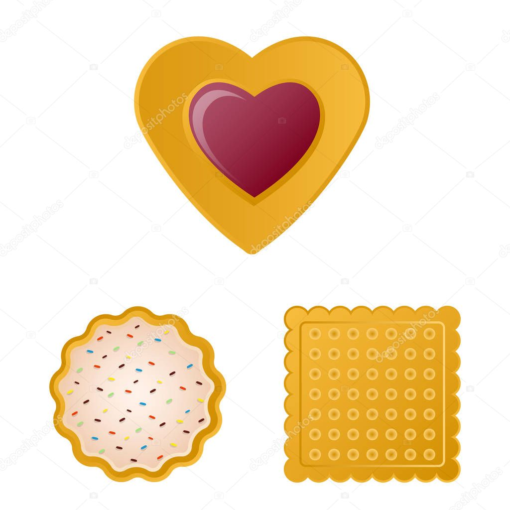 Isolated object of biscuit and bake sign. Collection of biscuit and chocolate vector icon for stock.