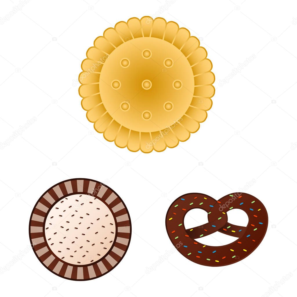 Isolated object of biscuit and bake symbol. Set of biscuit and chocolate stock symbol for web.