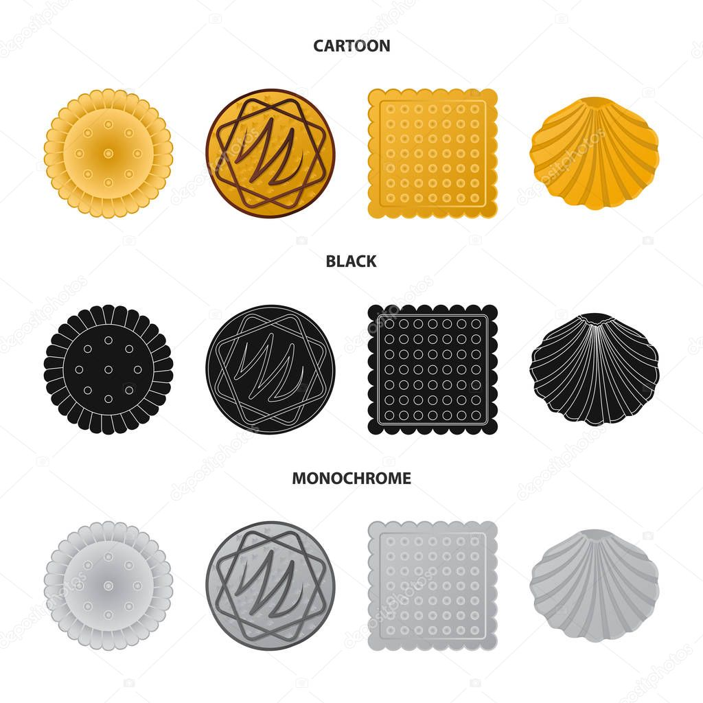 Vector design of biscuit and bake symbol. Collection of biscuit and chocolate vector icon for stock.