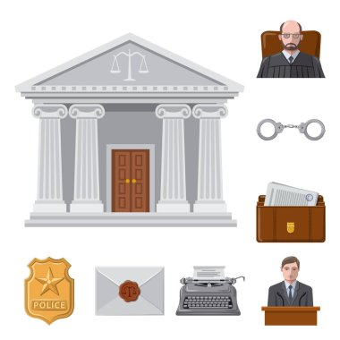 Vector design of law and lawyer icon. Set of law and justice vector icon for stock.