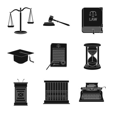 Vector design of law and lawyer symbol. Set of law and justice stock symbol for web.
