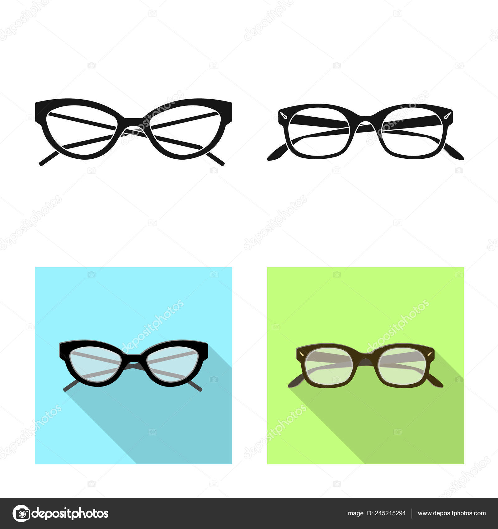 073ef3ae74c7 Vector design of glasses and frame sign. Collection of glasses and  accessory stock vector illustration